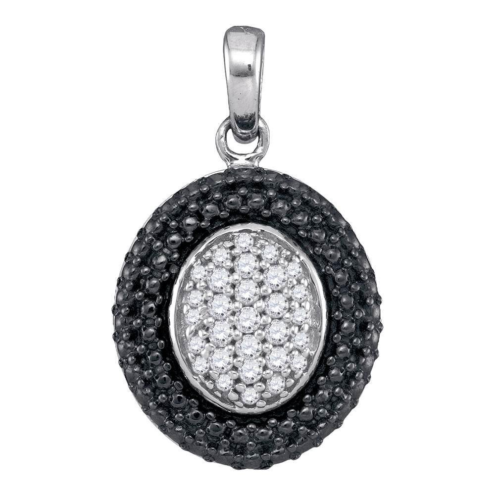 Sterling Silver Pendant Oval Black Rhodium Frame