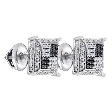 Sterling Silver Earrings Square 0.11ctw Diamond