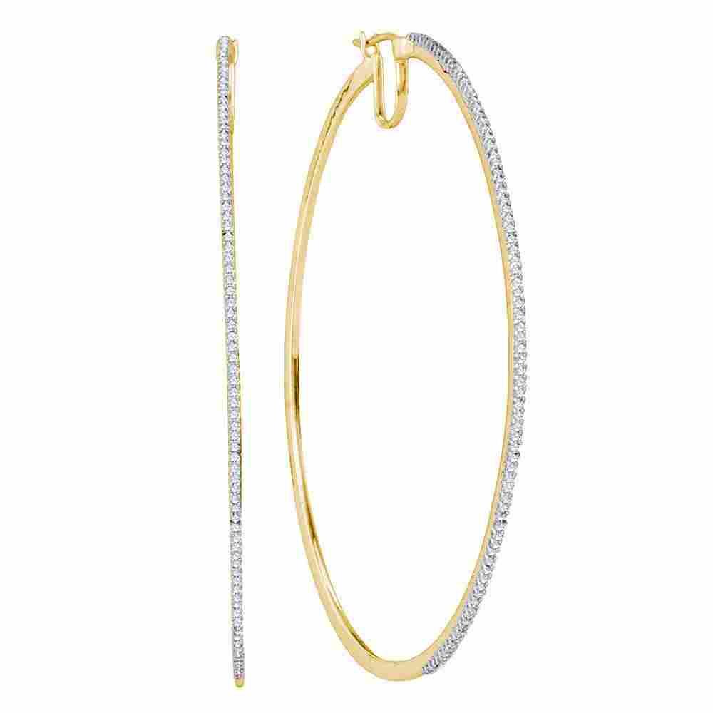 10K Yellow Gold Earrings Large 0.5ctw Diamond