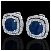 495 ctw Sapphire  Diamond Earrings 18K White Gold