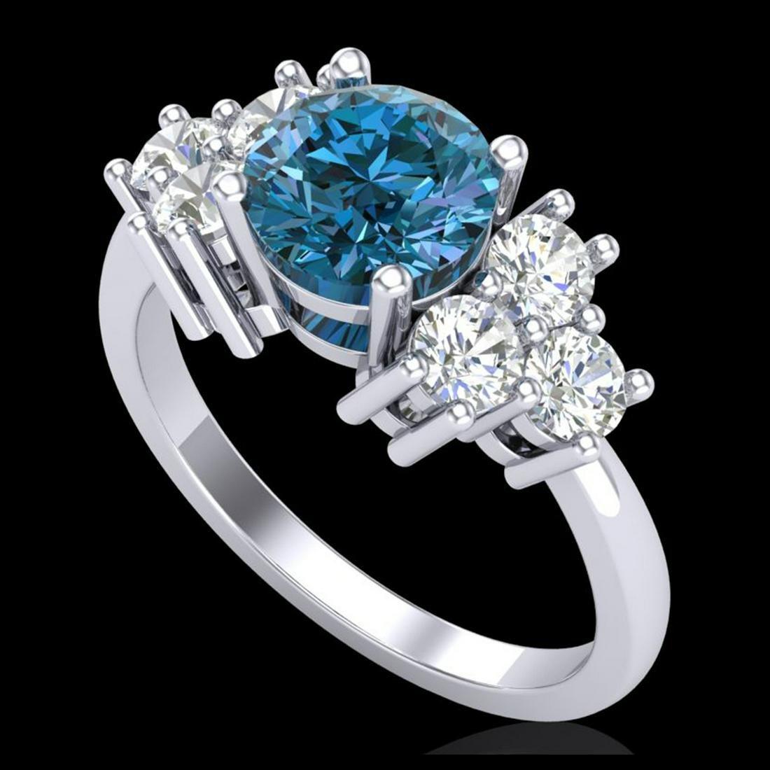 1.51 ctw Fancy Intense Blue Diamond Art Deco Ring 18K