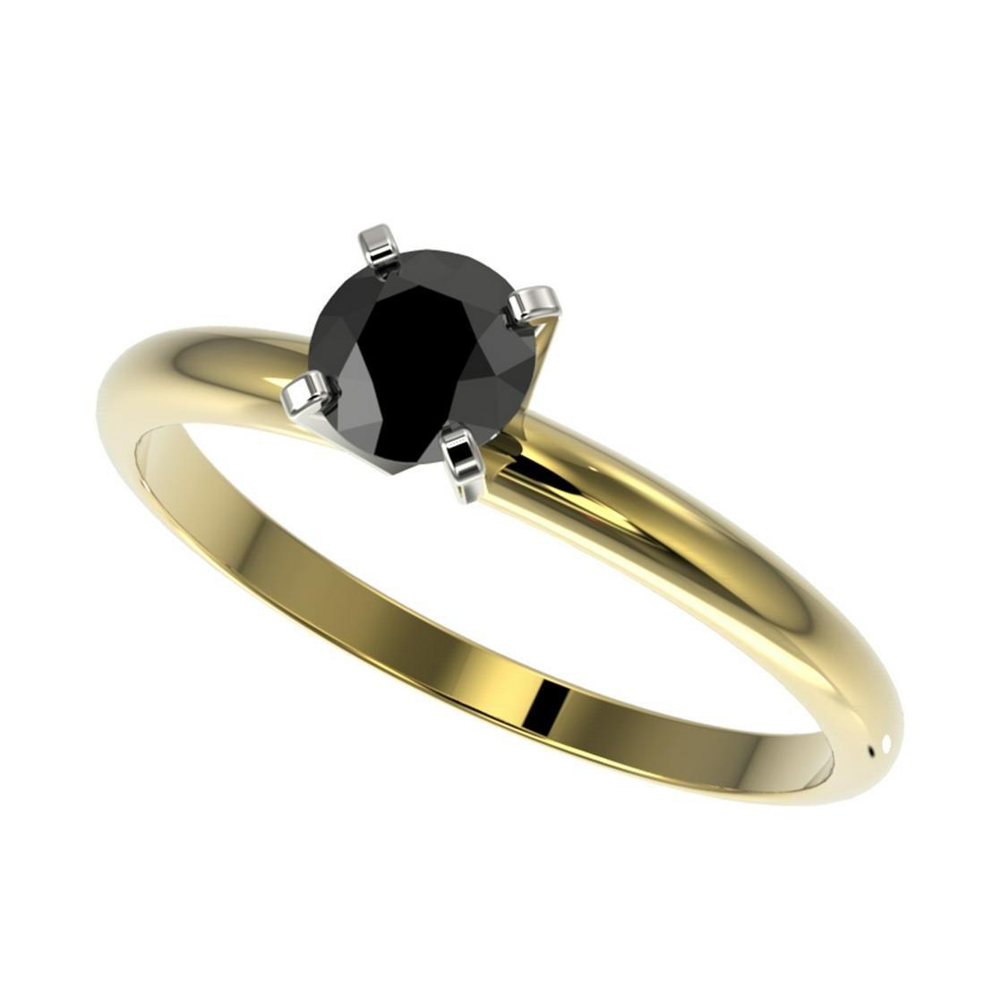 0.50 ctw Fancy Black Diamond Solitaire Ring 10K Yellow