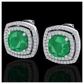 495 ctw Emerald  Diamond Earrings 18K White Gold