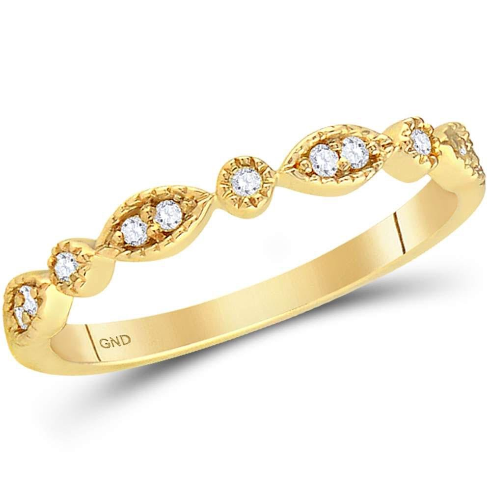 14K Yellow Gold Ring Stackable 0.1ctw Diamond