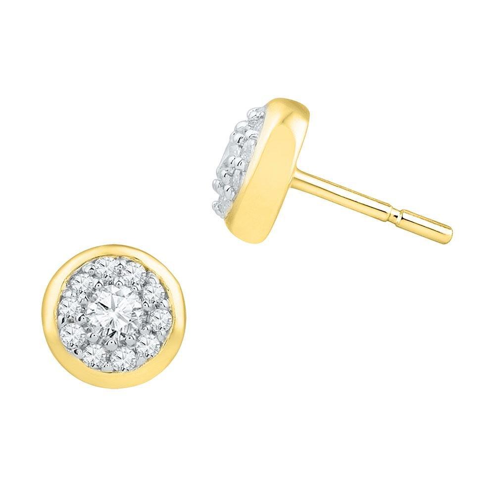 10K Yellow Gold Earrings Cluster 0.38ctw Diamond