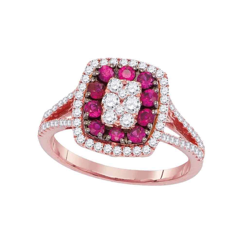 18K Rose Gold Ring 0.97ctw Natural Ruby, Diamond,