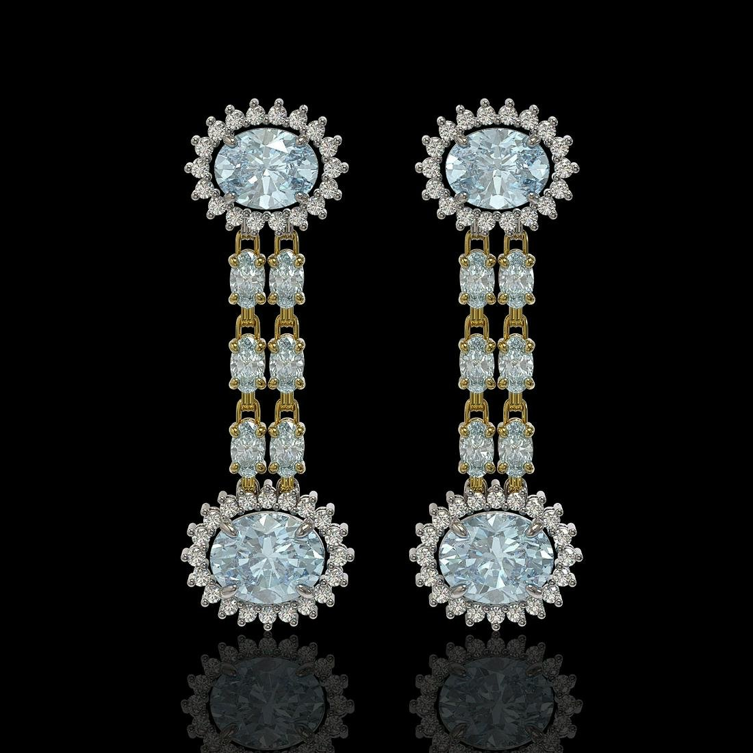 9.85 ctw Sky Topaz & Diamond Earrings 14K Yellow Gold
