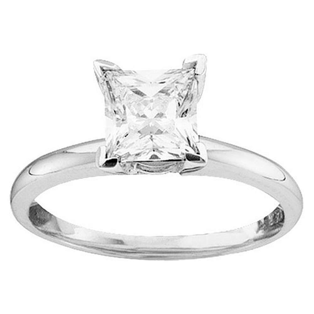 14K White Gold Ring Solitaire 0.51ctw Diamond
