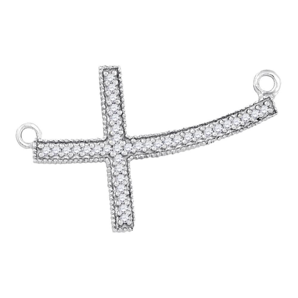 Sterling Silver Pendant Curved Sideways Cross 0.15ctw