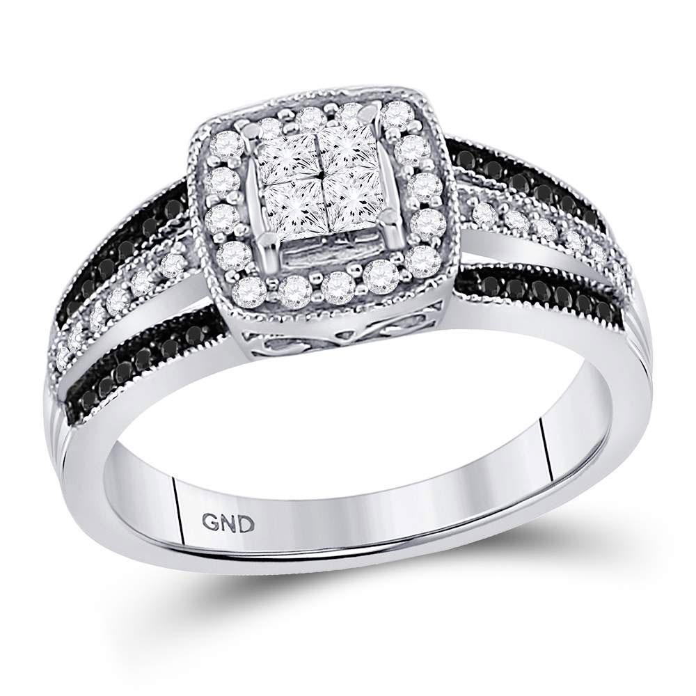 10K White Gold Ring Cluster 0.6ctw Colored Black