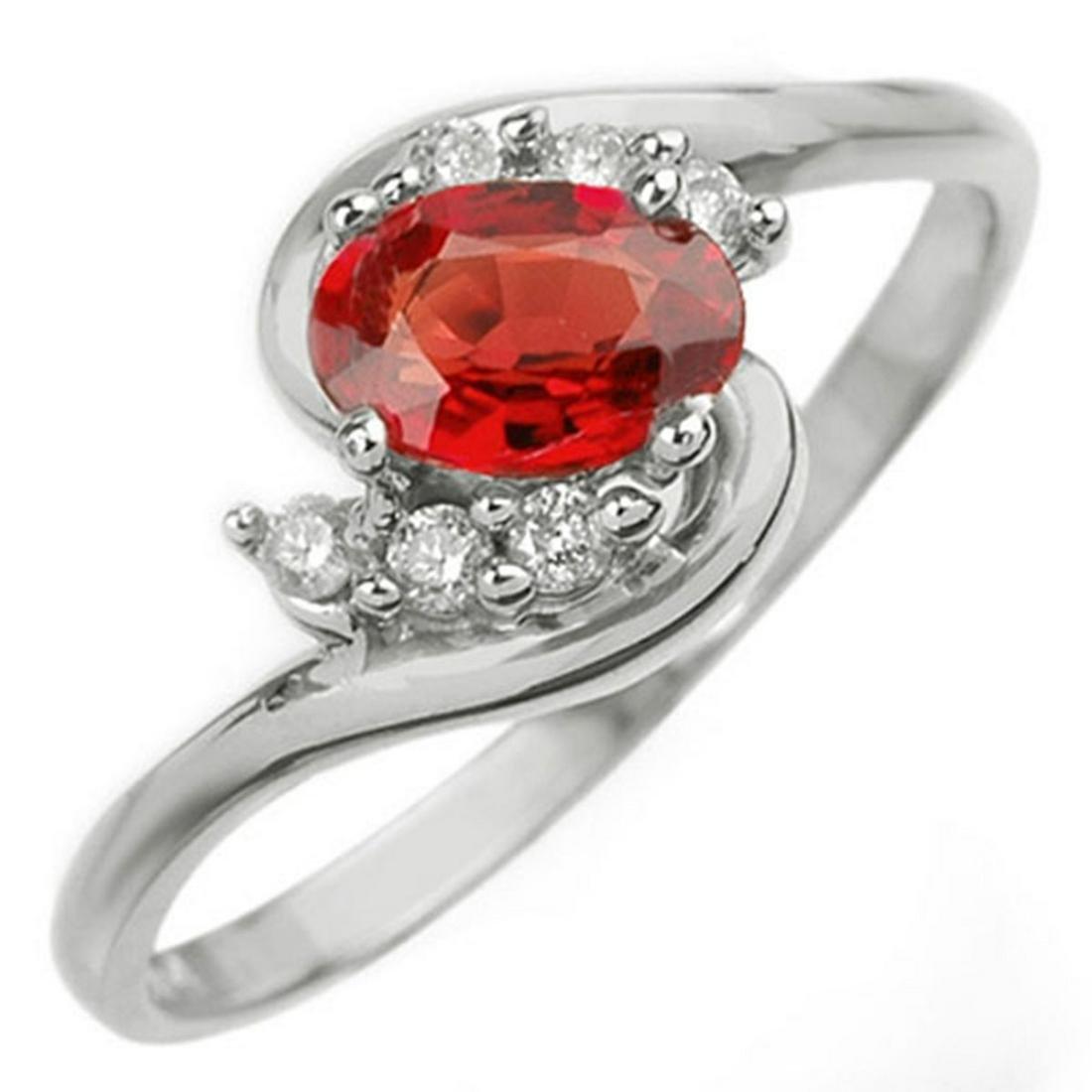 0.70 ctw Red Sapphire & Diamond Ring 18K White Gold