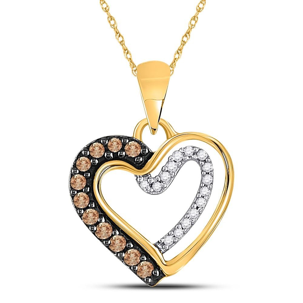 10K Yellow Gold Pendant Heart 0.2ctw Brown Diamond,