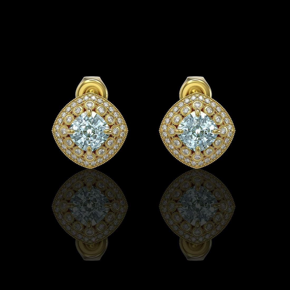 4.39 ctw Aquamarine & Diamond Earrings 14K Yellow Gold