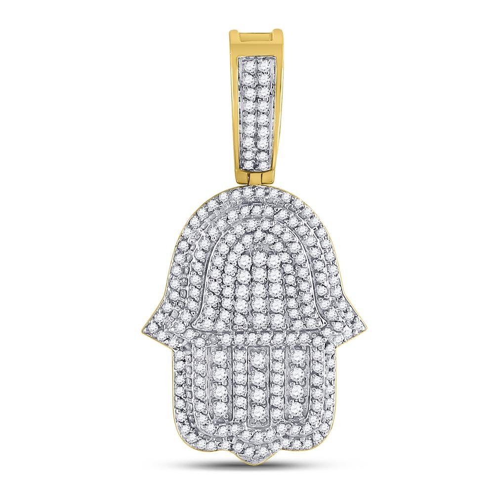10K Yellow Gold Pendant Hamsa Hand 1.9ctw Diamond
