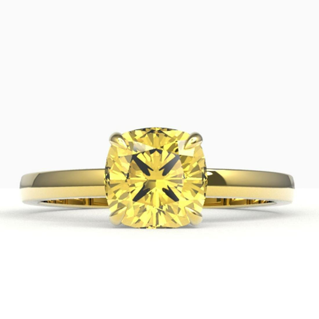 1.50 ctw Cushion Cut Citrine Ring 18K Yellow Gold