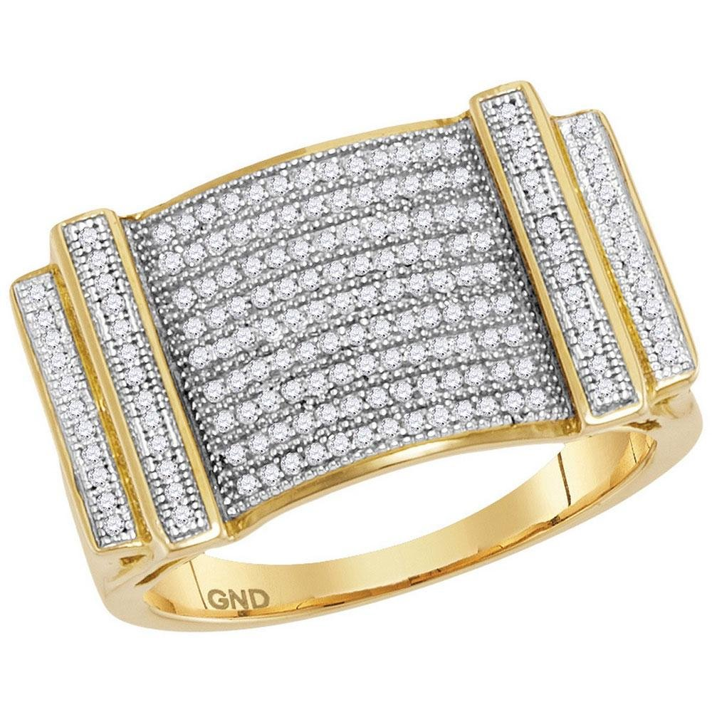 10K Yellow Gold Mens Ring Micro-Pave 0.5ctw Diamond