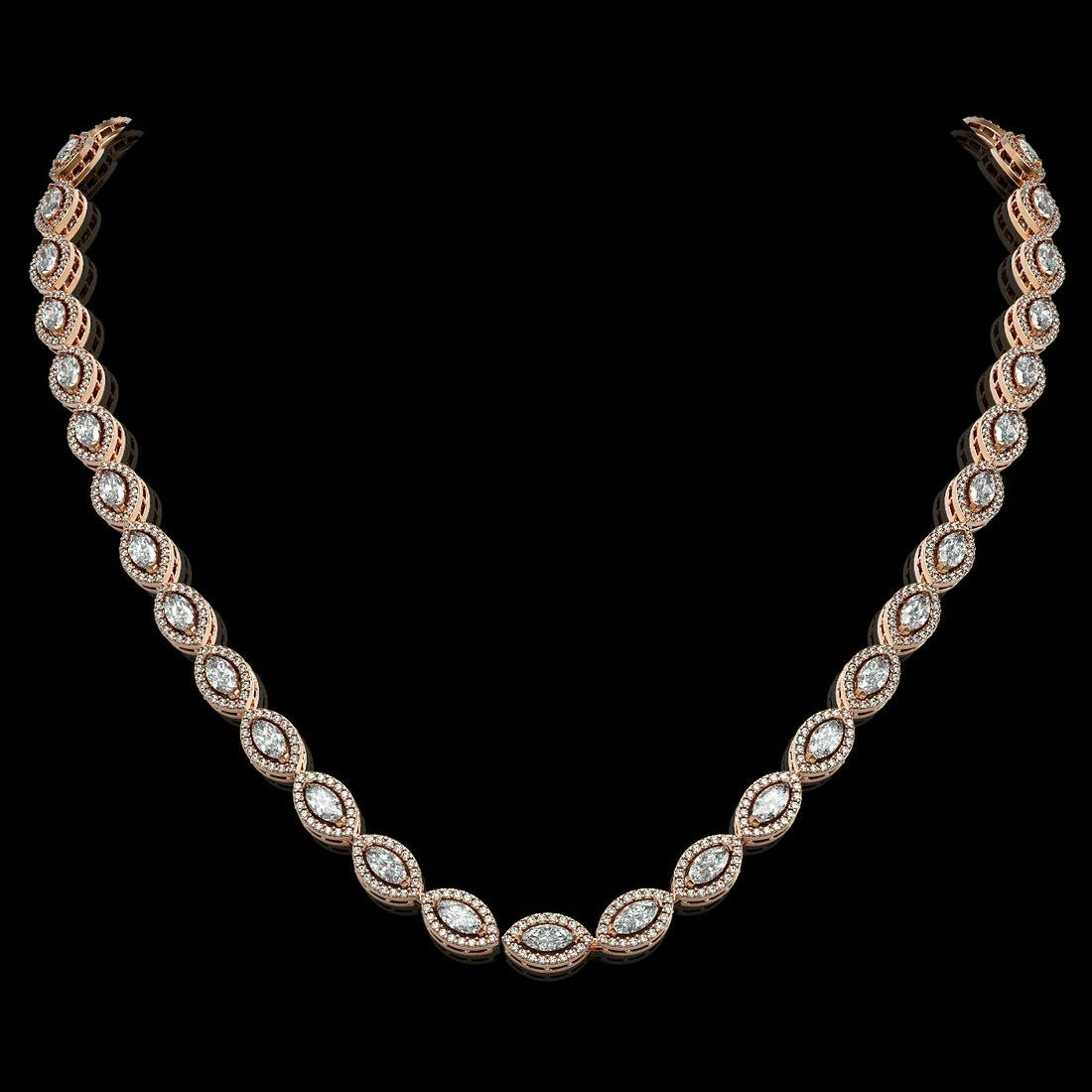 15.74 ctw Marquise Diamond Necklace 18K Rose Gold