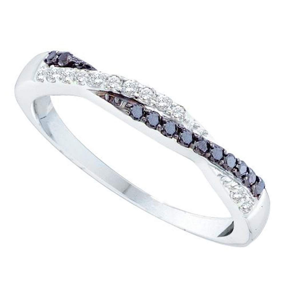 14K White Gold Ring Slender Twist 0.25ctw Colored Black