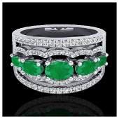 2.25 ctw Emerald & Diamond Ring 10K White Gold