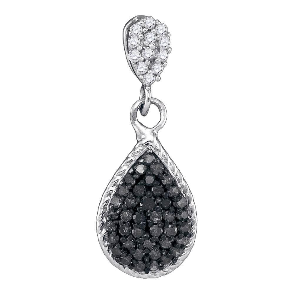 10K White Gold Pendant Teardrop Cluster 0.25ctw Colored