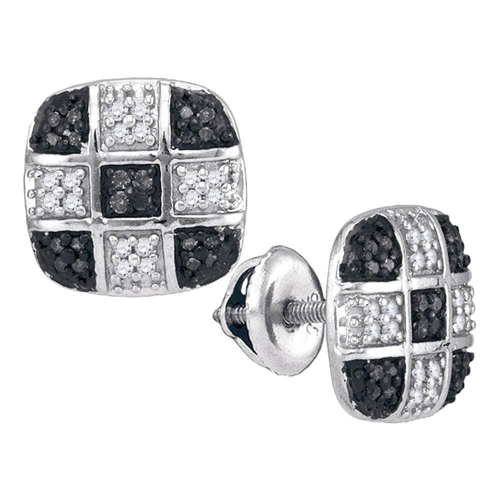 10K White Gold Earrings 0.25ctw Colored Black Diamond