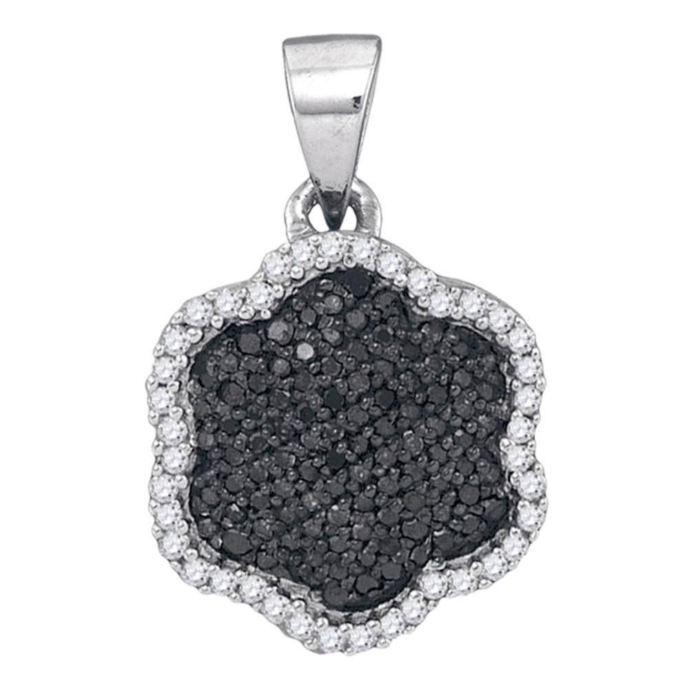 10K White Gold Pendant Hexagon Cluster 0.25ctw Colored