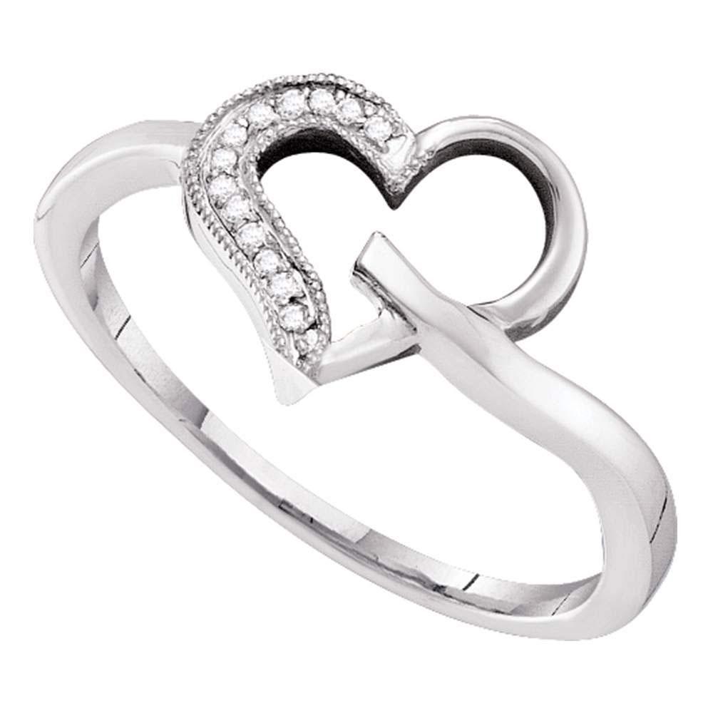 10K White Gold Ring Heart Outline 0.04ctw Diamond