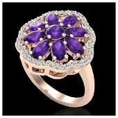 3 ctw Amethyst & Diamond Cluster Ring 10K Rose Gold