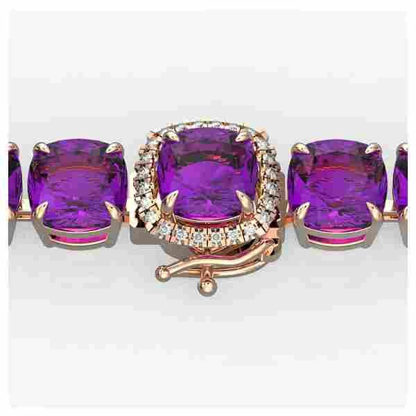 46 ctw Amethyst & Diamond Bracelet 14K Rose Gold