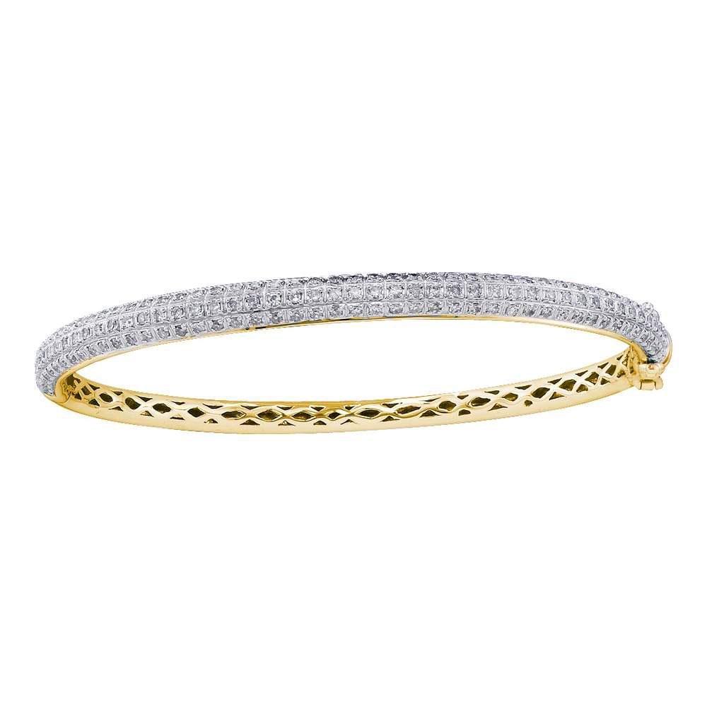 14K Yellow Gold Bangle 1.01ctw Diamond