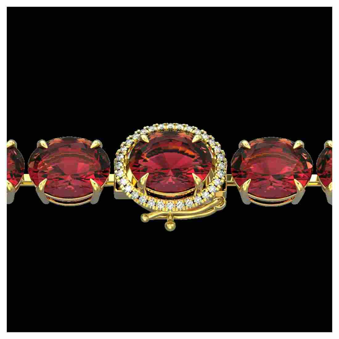 65 ctw Pink Tourmaline & Diamond Bracelet 14K Yellow
