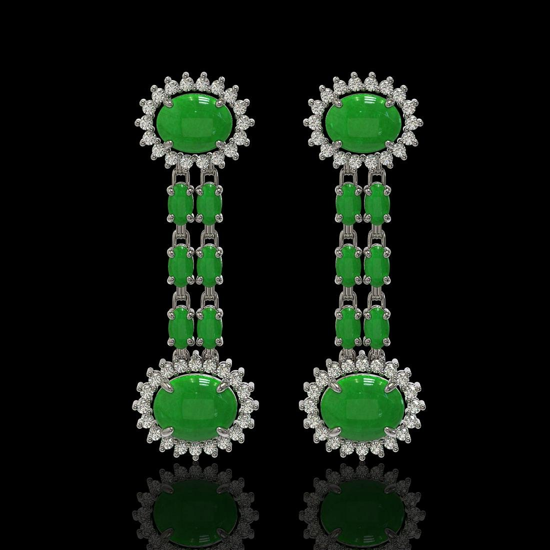 8.07 ctw Jade & Diamond Earrings 14K White Gold