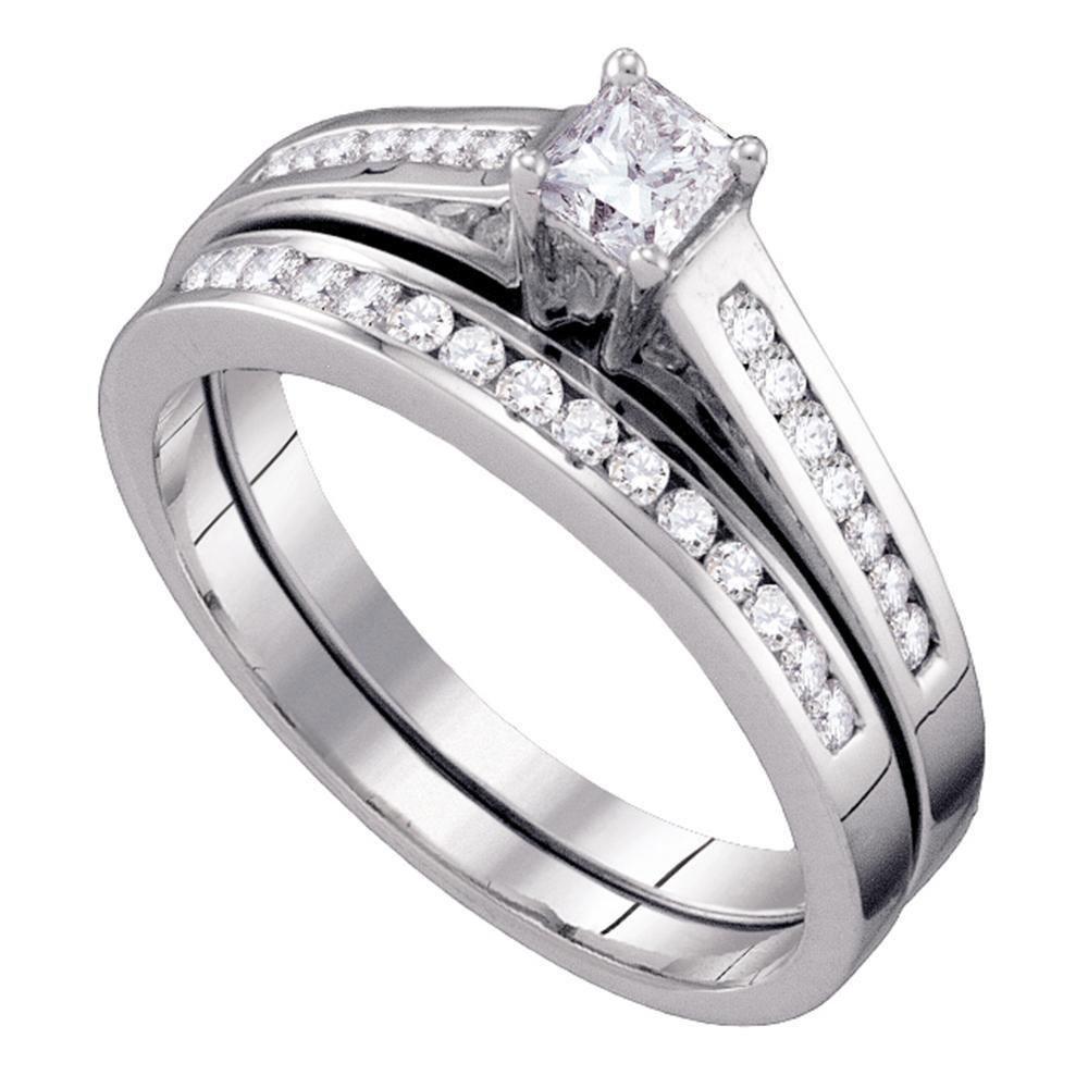 10kt White Gold Princess Diamond Bridal Wedding