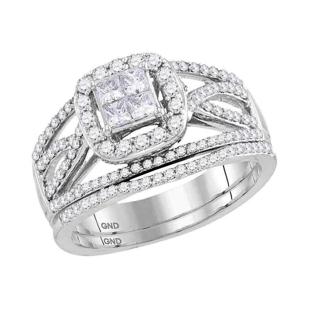 14kt White Gold Princess Diamond Bridal Wedding