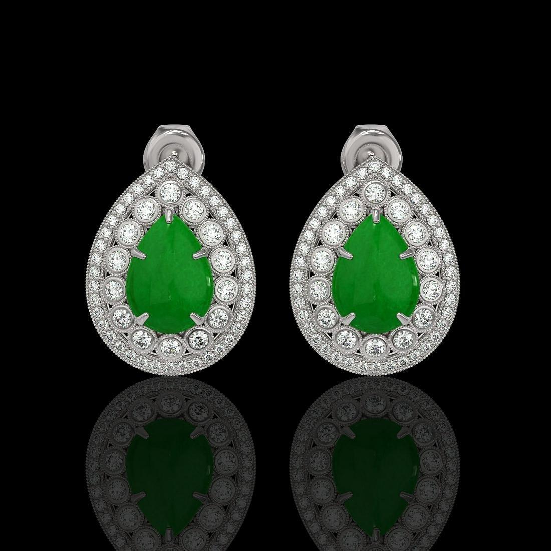 7.74 ctw Jade & Diamond Earrings 14K White Gold