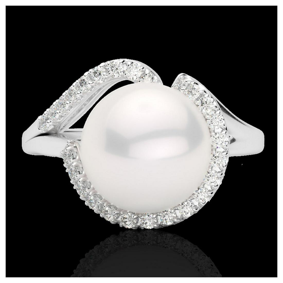 0.27 ctw VS/SI Diamond & White Pearl Ring 18K White