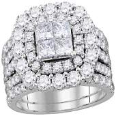 14kt White Gold Princess Diamond Cluster Halo Bridal