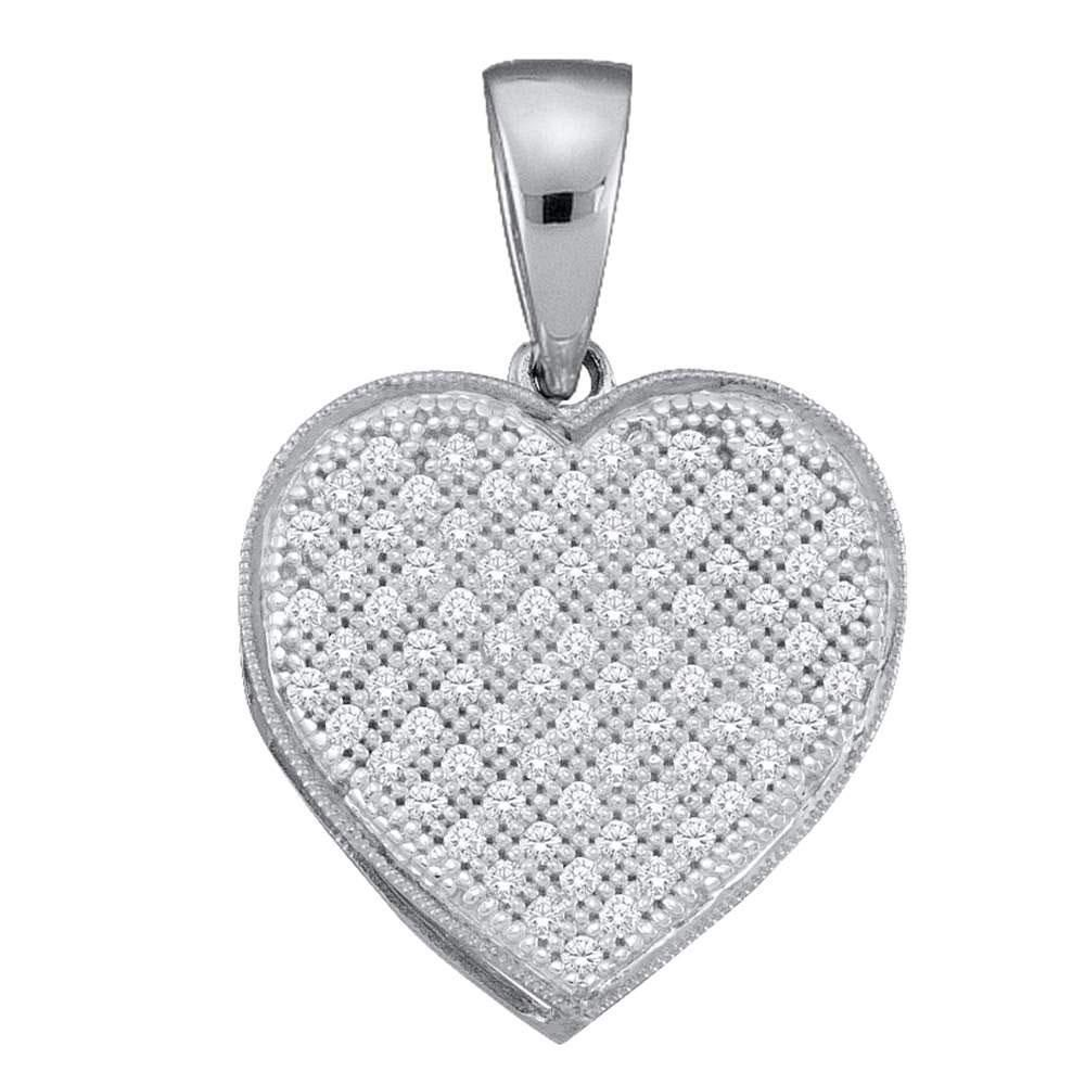 10kt White Gold Round Diamond Simple Heart Cluster