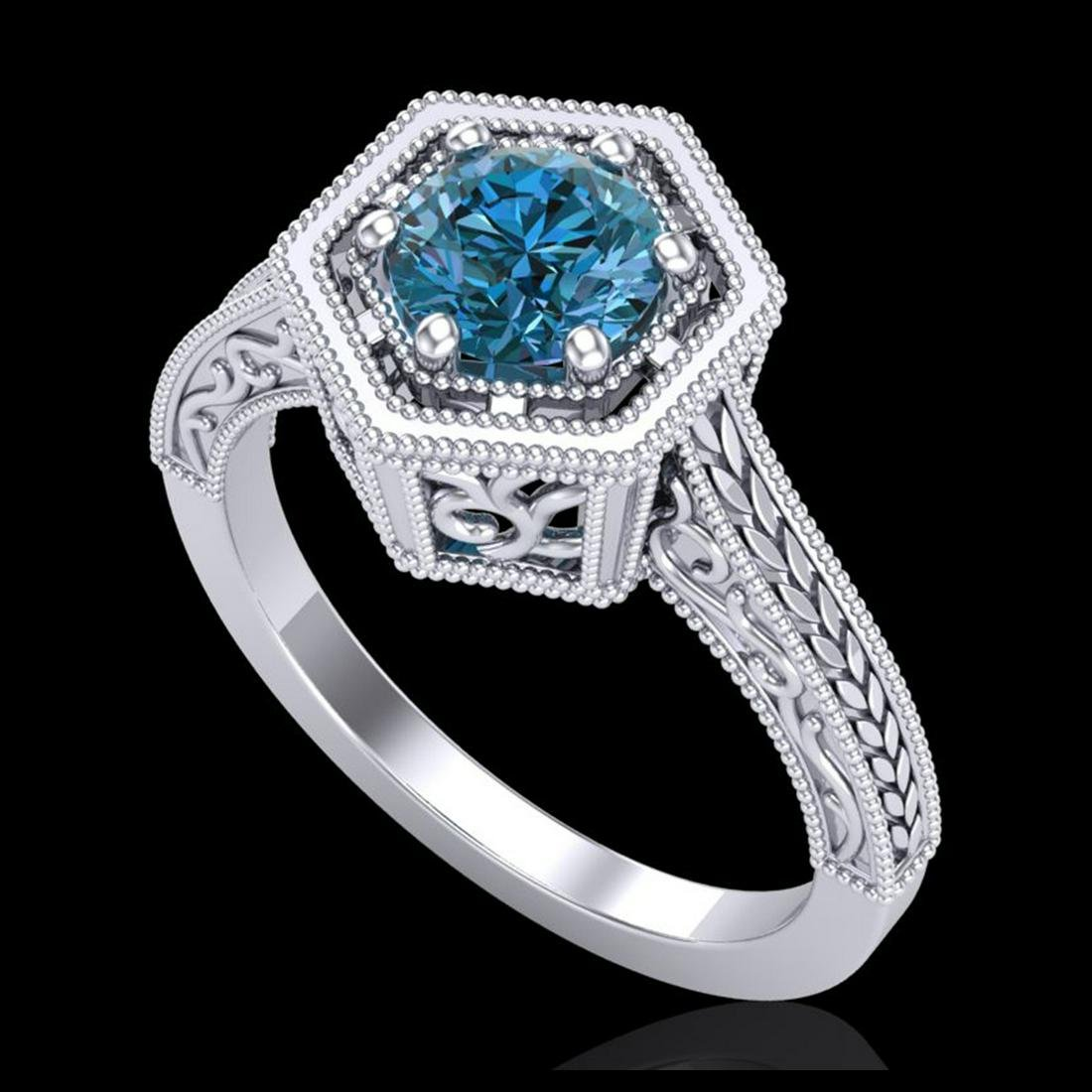 0.77 ctw Fancy Intense Blue Diamond Art Deco Ring 18K