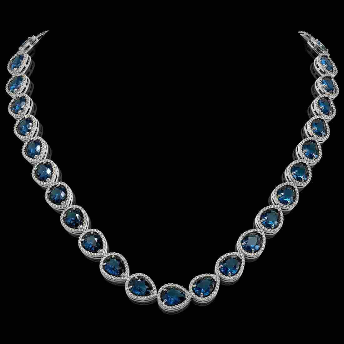 44.8 ctw London Topaz & Diamond Halo Necklace 10K White