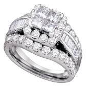 14kt White Gold Princess Diamond Halo Cluster Bridal