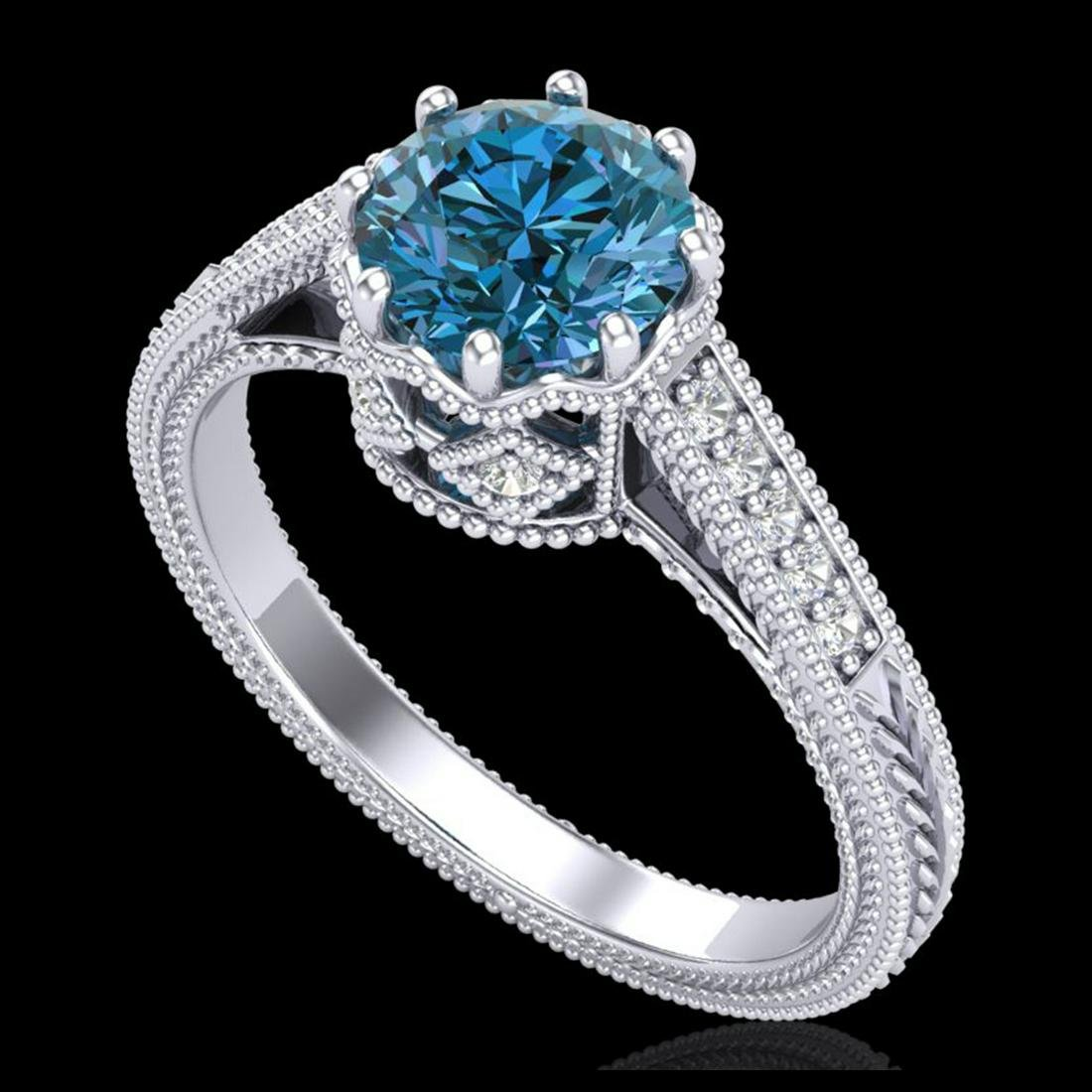 1.25 ctw Fancy Intense Blue Diamond Art Deco Ring 18K