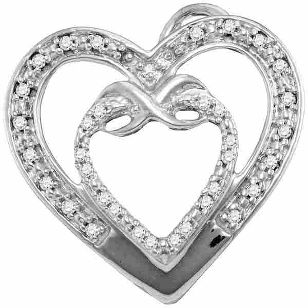 10kt White Gold Round Diamond Nested Double Heart