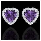 2 ctw Amethyst  VSSI Diamond Earrings Heart 14K White