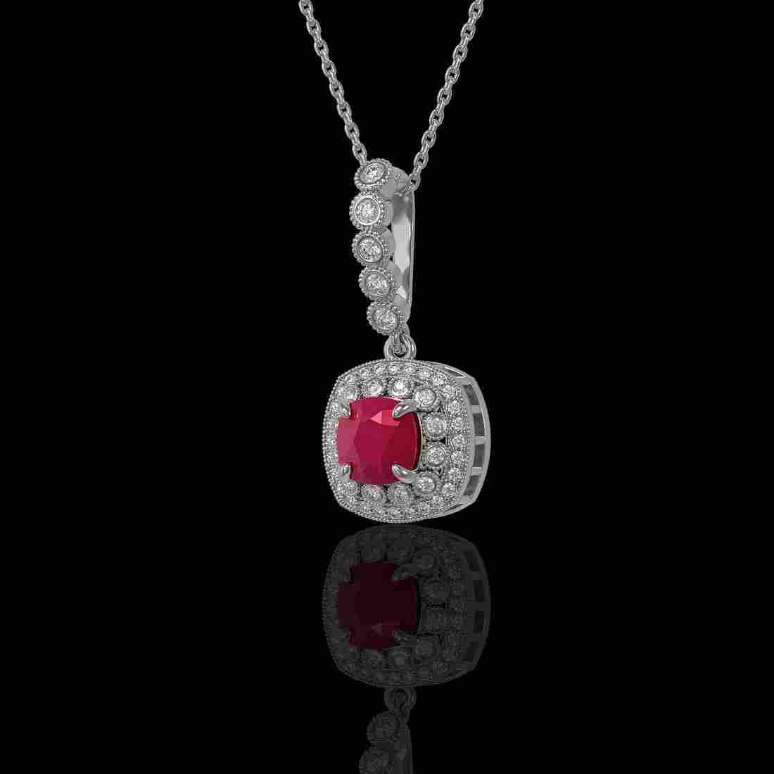 2.55 ctw Ruby & Diamond Necklace 14K White Gold