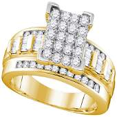 10kt Yellow Gold Round Diamond Rectangle Cluster Bridal