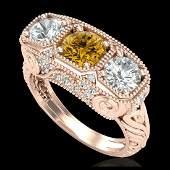 251 ctw Intense Fancy Yellow Diamond Art Deco Ring 18K