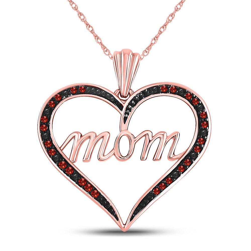 10k Rose Gold Red Color Enhanced Diamond Mom Heart