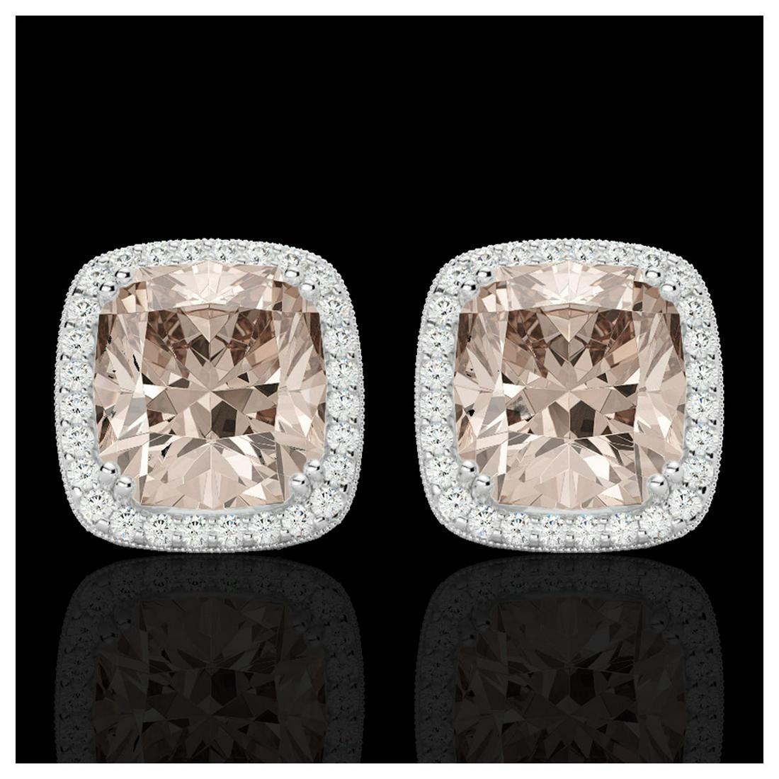 6 ctw Morganite VSSI Diamond Earrings 18K White Gold