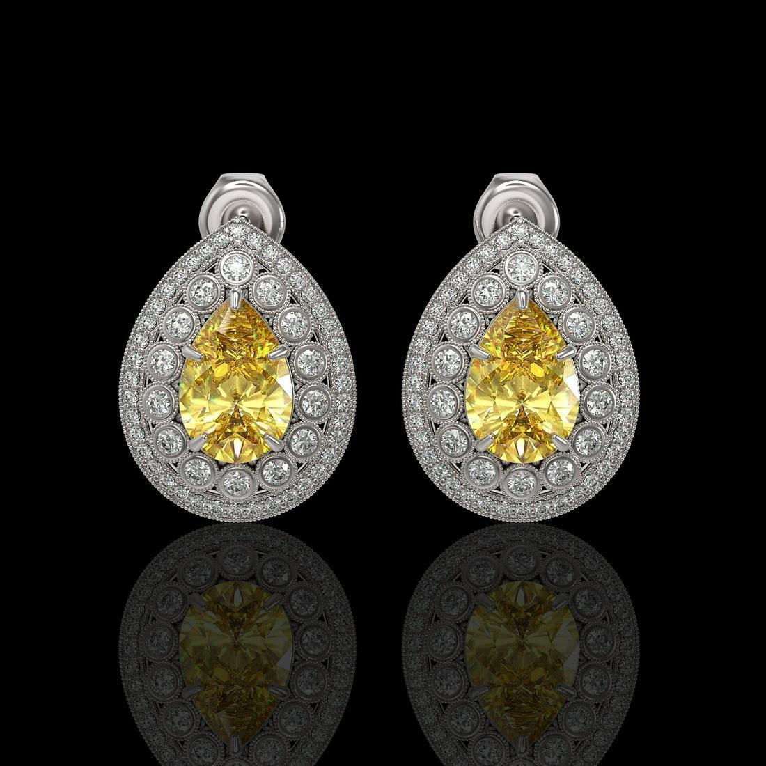 7.74 ctw Canary Citrine & Diamond Earrings 14K White